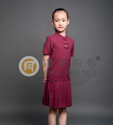 夏季轻中式学院短袖百褶裙